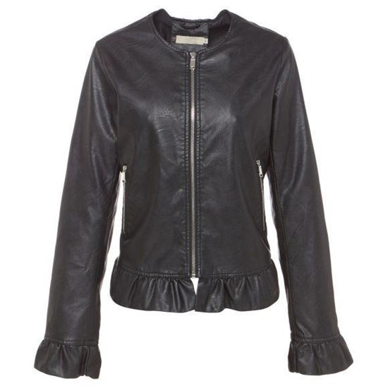 Picture of Faux Leather Jacket With Ruffl